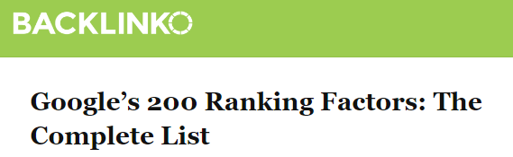 Article about Google ranking factors