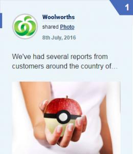 Facebook Woolworths Pokemon Go