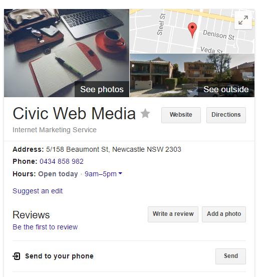Civic Web Media's Google My Business display